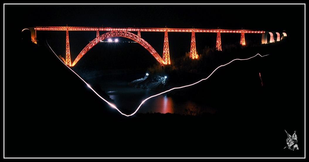 Ligne des Causses - Viaduc de Garabir light painting
