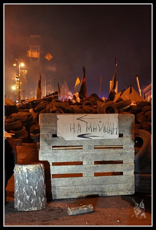 Kiev - Révolution de 2014 Euromaidan - Barricades (détail) Place Maidan