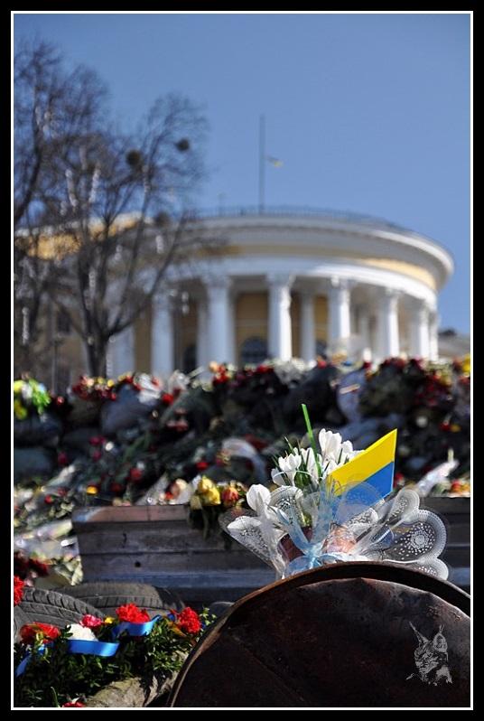 Kiev - Révolution de 2014 Euromaidan - fleurs et drapeau Ukrainien sur les barricades - евромайдан