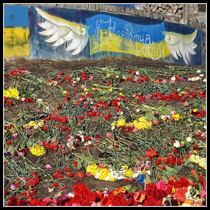 Kiev - Révolution de 2014 Euromaidan - Fleurs, comombes et drapeau ukrainien